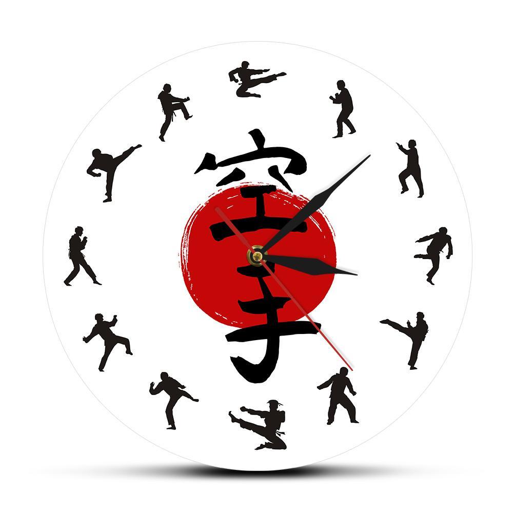 Fistfight mur Karaté Décor suspendu silencieux mur Montre japonais d'arts martiaux de karaté Silhouettes Living Wall décoratifs Chambre Horloge Y200407