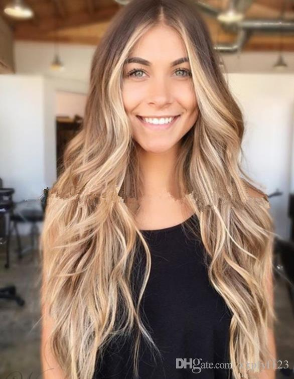 Golden Roots Full Blonde Ombre Body Wave Wigs Hair Glueless Synthetic Lace Front Wig For Women Heat Resistant Fiber FZP144