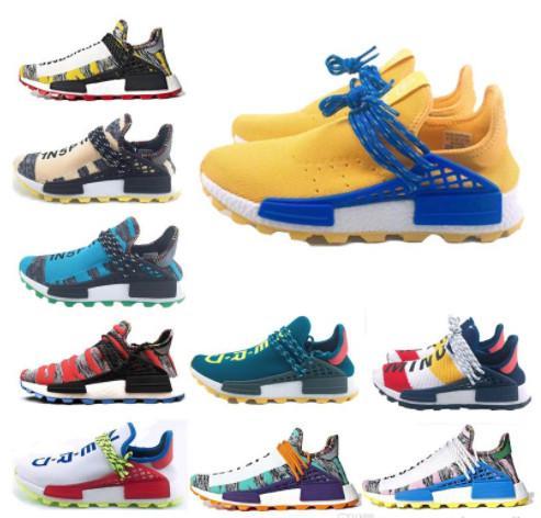 Corrida humana Hu trilha pharrell williams homens sapatos casuais Nerd preto creme Holi homens formadores mulheres 2018 designer sports runner sneakers 36-47