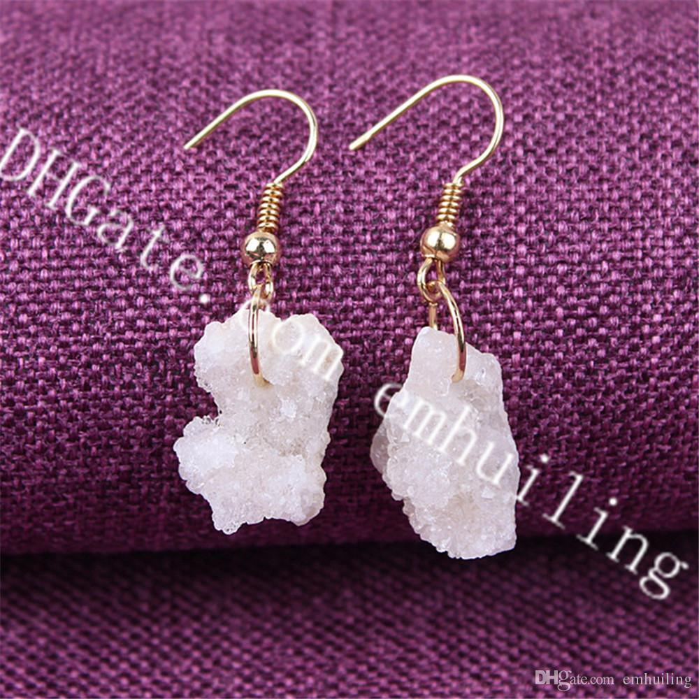 10Pairs 10-25mm Small Freeform White Natural Rough Druzy Drusy Brazillian Agate Geode Gemstone Dangle Drop Earrings with Gold Plated Hook