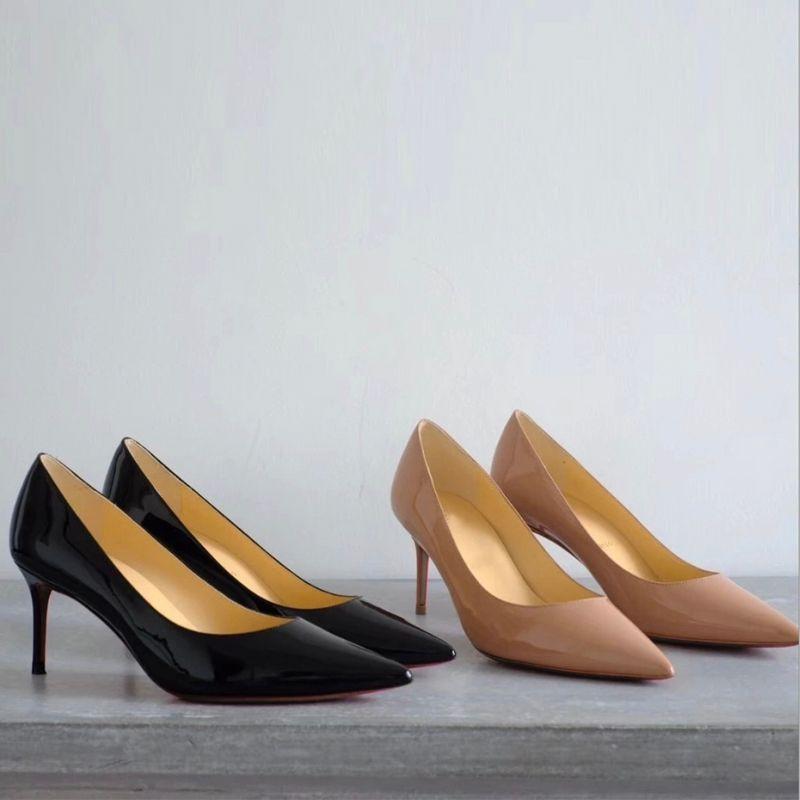 Designer de Salto Alto Vermelho Fundo Apontou Toe Bombas de Alta qualidade 100% Estiletes de couro Genuíno Sexy Deslizamento Vestido Sapatos Partido sapatos 2-6-8-10.5 cm