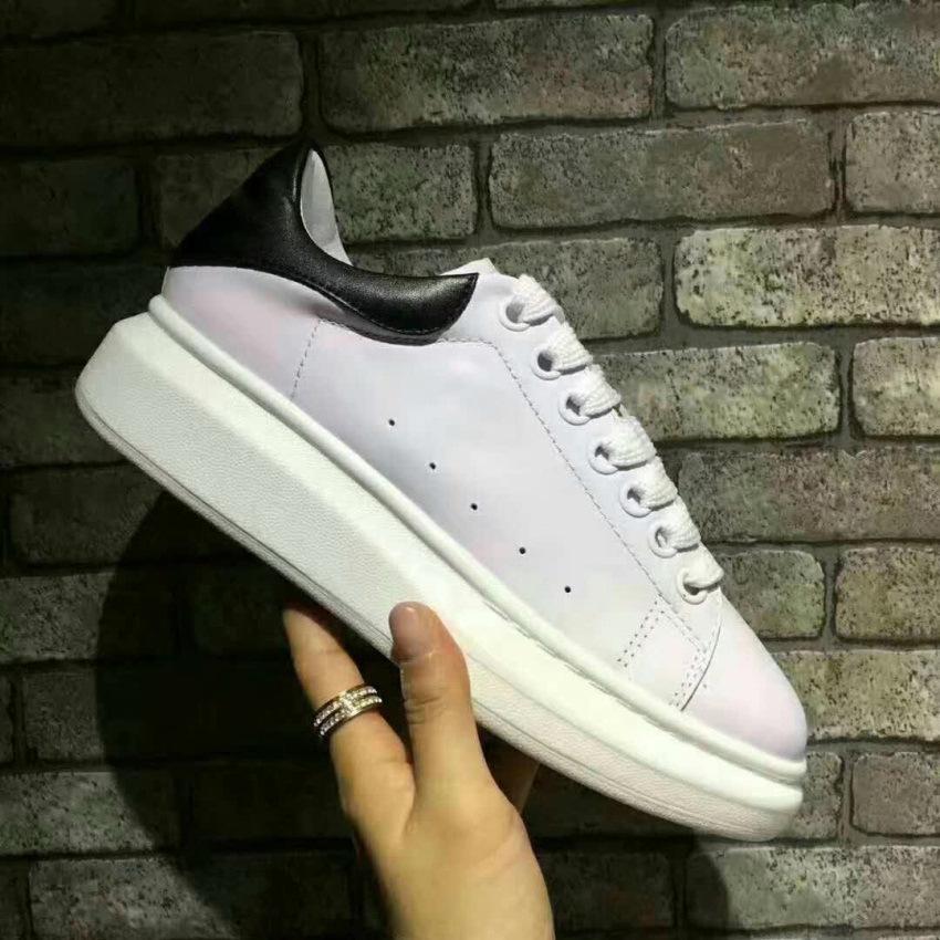 Clássico 2019 Mens e mulheres casal sapatos de muffin grosso-solado, couro real lace up baixo branco plataforma de tênis 35-45