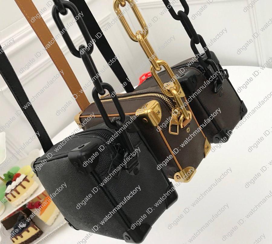 Дизайнер сумка Box Soft Ствол из натуральной кожи Crossbody сумка Wraped углов Матели цепь Satchel мешок кошелек мини Zippy Tote