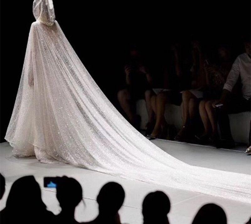 Cauda longa com capuz capa acessórios do casamento sequin casamento xale cape casaco de noiva