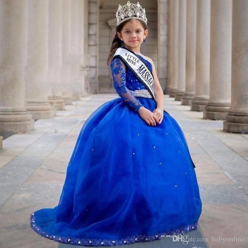 Royal blue girls pageant vestidos mangas compridas de um ombro princesa sash plissado frisado apliques formais vestidos de festa de festa de crianças vestidos