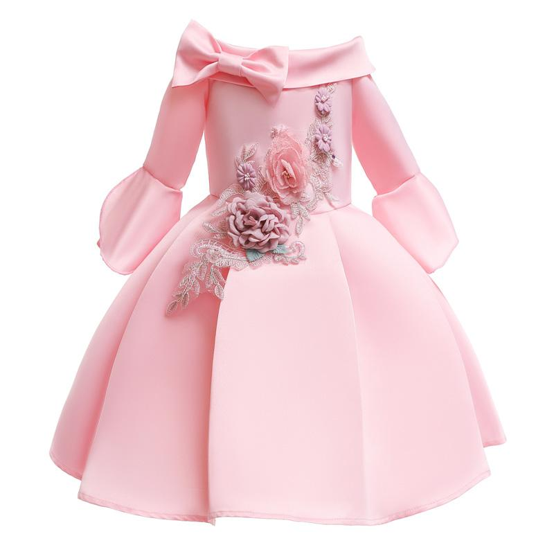 2-10Years ليتل بنات حفل زفاف الأميرة اللباس الصيف زهرة نمط اللباس توتو لازياء الاطفال طفلة الكرة بثوب