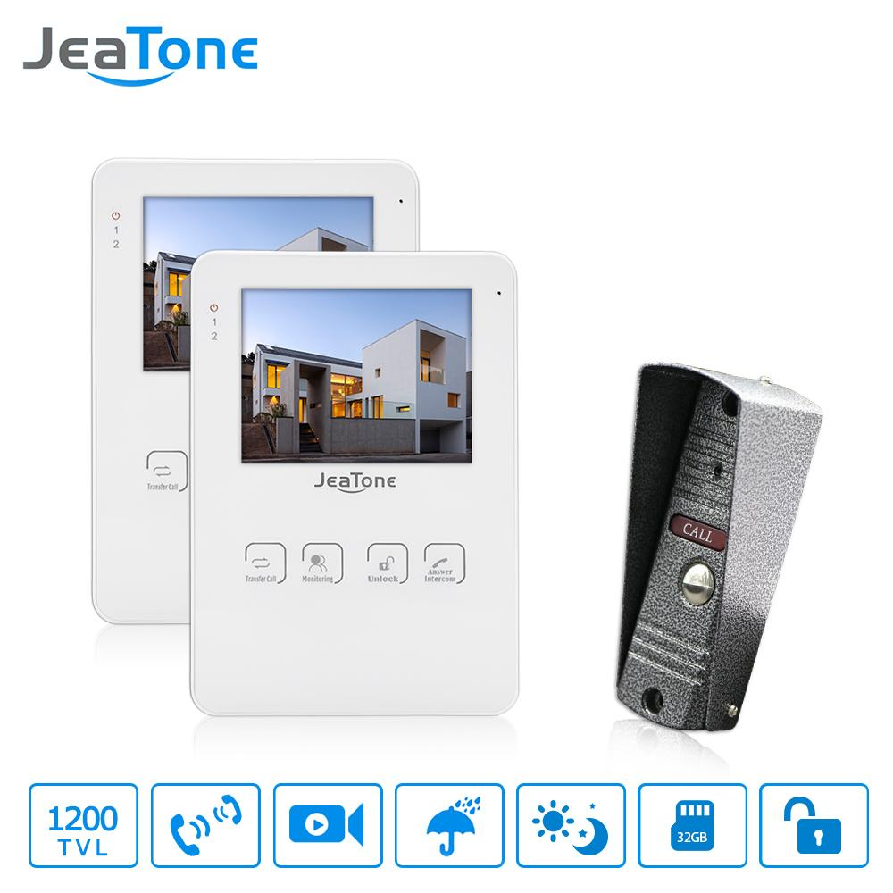 "JeaTone 4"" Wired Video Door Phone Intercom LCD Touch Key Monitor Home Security Doorbell System Night Vision 1200TVL High Resolution 1w2"