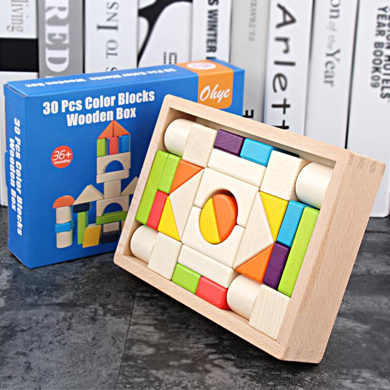 De alta calidad de madera de 30 piezas de madera de color en caja de madera educativa bloques grandes bloques de construcción de juguetes para niños Y200111