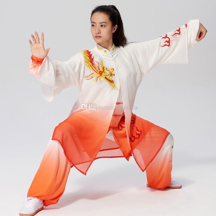 Chinese Tai chi clothes Kungfu uniform Taiji boxing garment outfit Phoenix Embroidery kimono for women men girl boy children adults kids