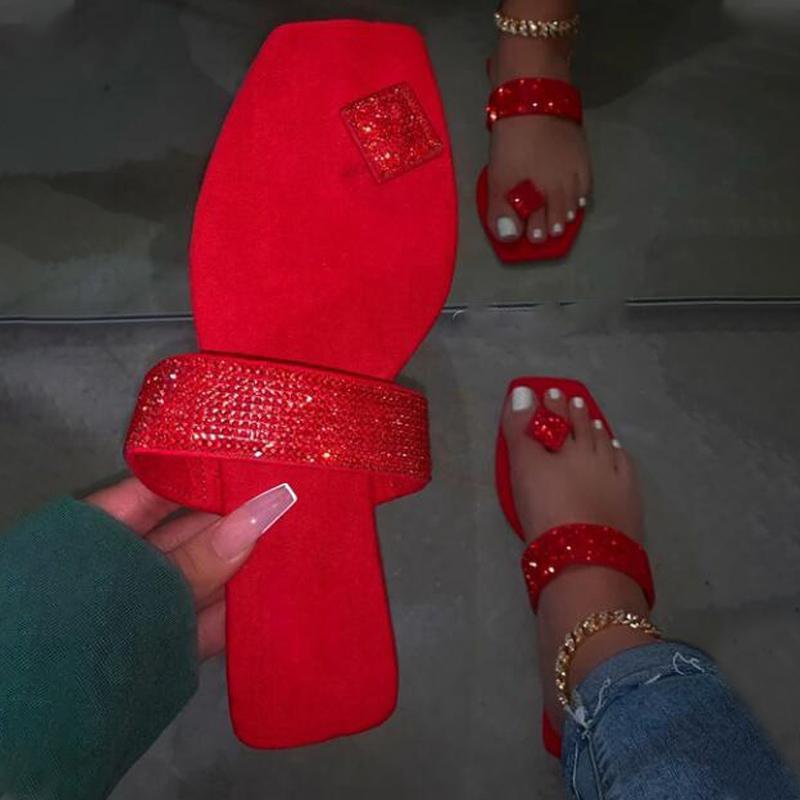 Las mujeres plana Zapatillas Damas clip del dedo del pie cuadrado de la mujer de cristal de Bling del dedo del pie ocasional del tirón cómodo Flops Zapatos Diapositivas femeninas para mujeres