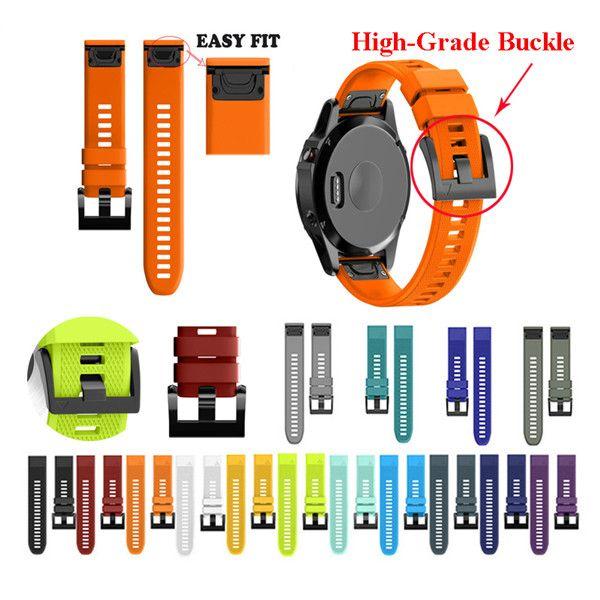 26 22 20MM حزام watchband للغارمين فينيكس 5X 5 5S زائد 3 3HR D2 S60 ووتش سيليكون Easyfit رباط المعصم الشريط