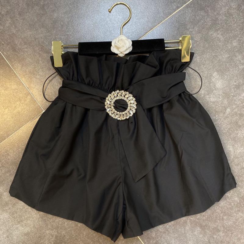 DEAT 2020 Новая Летняя мода Повседневная Лоскутная Черный Сыпучие эластичный пояс Дрель пряжки Lace Up Wide Leg шорты Женщины SD690