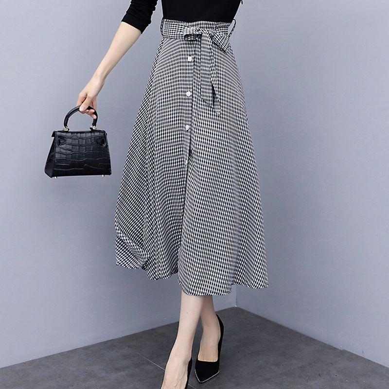 Skirts 2021 Autumn Women Skirt High Waist Pleated Vintage Plaid Midi Houndstooth Casual Chic