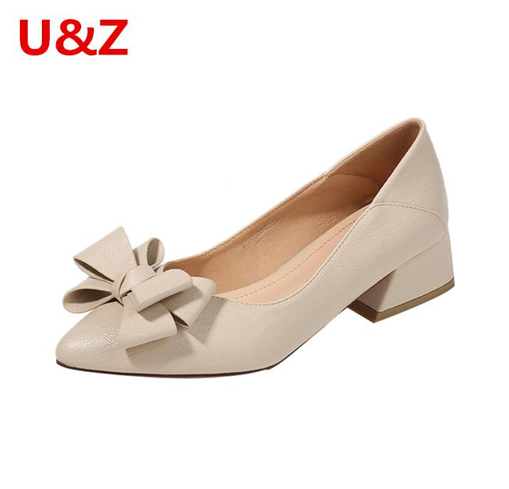 2 maneiras de escritório desgaste das mulheres calçam sapatos de festa confortáveis bombas elegante arco, macio Khaki / preto / bege de couro vai saltos de rua 4 centímetros