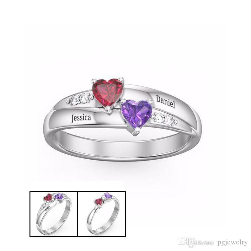 Hot Genuine 925 Sterling Silver Ring Gravado Duplo Amor Coração Birthstone Anel de Dedo Sterling Prata Jóias Para Amante Presente Frete Grátis