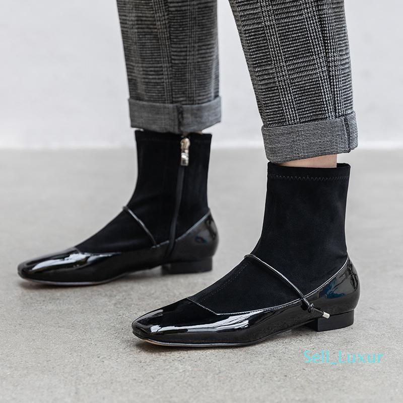Hot Sale-bottes pour femmes chaussettes mode automne hiver véritable tissu cuir et extensible bottillons noir Beige bottes cheville Zipper partie 34-40
