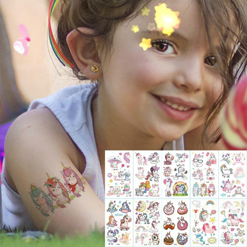10 Pezzi / Lotto di colore Unicorn viso tatuaggio temporaneo per bambini Stickers per bambini Carino Kids Tatuaggi