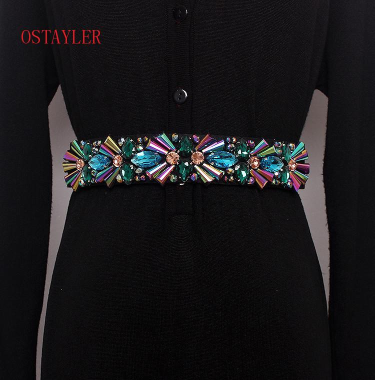 New Design Colorful Rhinestone Crystal Flower Bead Waist Belts Women Waist Belt Accessories Ladie Corset Strap Waistband Y19070503