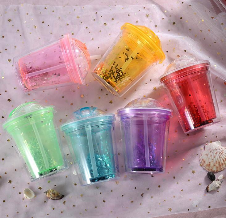 L'ultimo doppio strato estate 9oz scorrevole paglia tazza di plastica congelato, veloce raffreddamento e delle bevande tazza surgelati, il trasporto libero