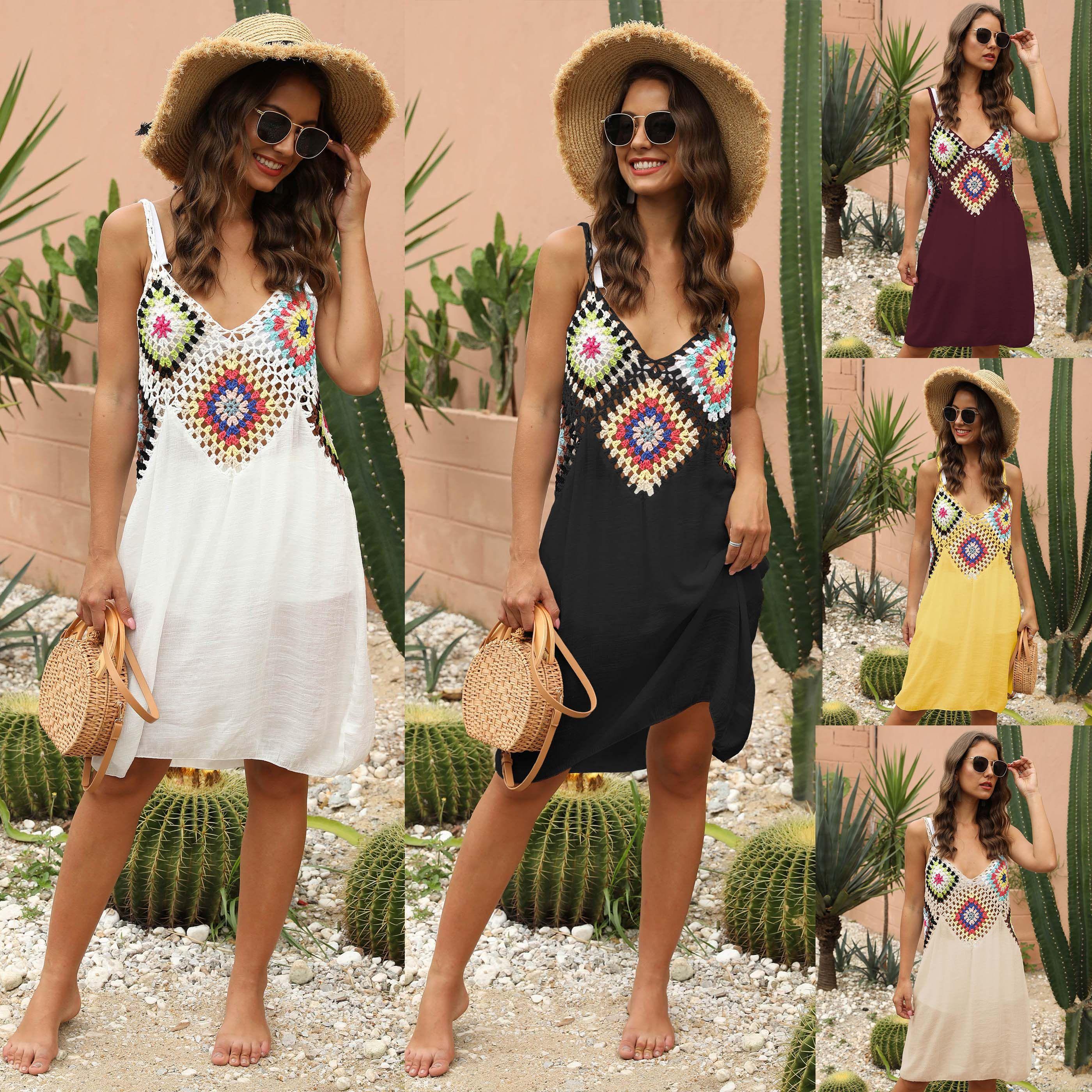 Kadınlar Yaz İşlemeli Patchwork Bohemia Elbiseler Halter Hollow Çıkan V Yaka Seksi Backless Elbise Güneş Blok Plaj Kapak Ups