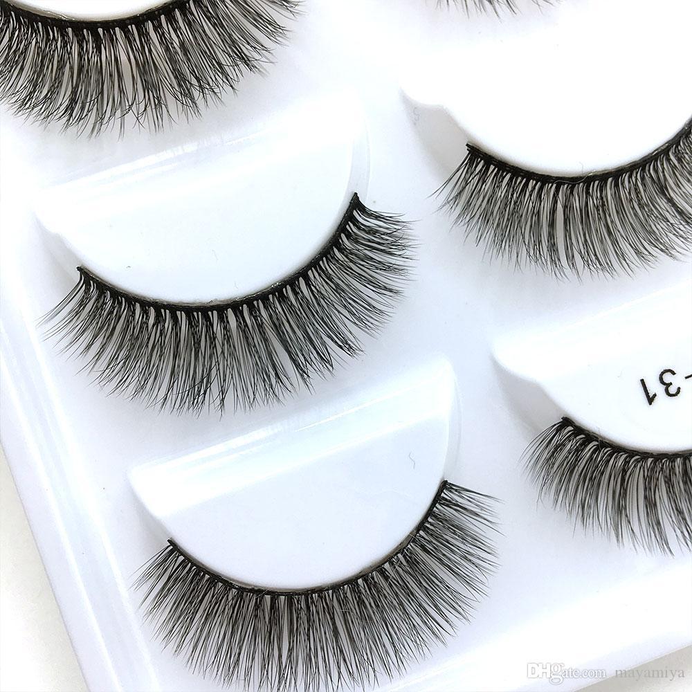 28 modelos de la serie E 5pairs / set False EyeLashes 5 Pairs 3D Natural Fake Eyelashes Handmade Makeup Tools Accesorios E31