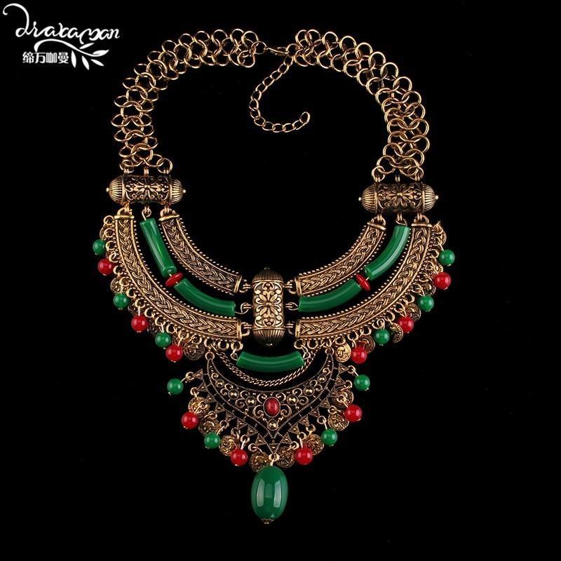Collar colgante de la moneda Estilo Dvacaman Marca Bohemia Declaración Maxi étnico collar de las mujeres collar de la joyería Gargantilla Bijoux B52