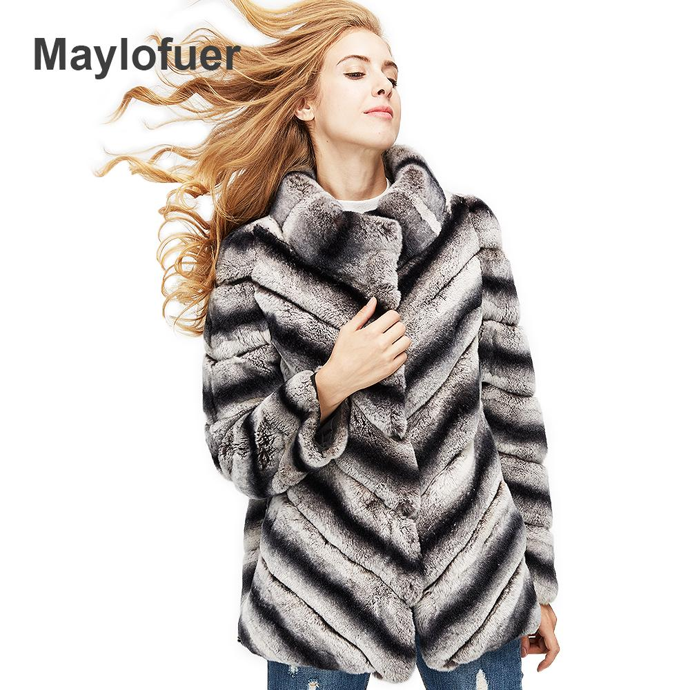 hot sale women real natural fur coat high quality 100% genuine fur chinchilla color winter jacket 70cm