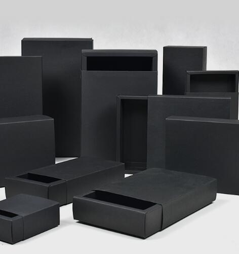 Caixa de presente caixas de papel Kraft 10pcs pequeno cartão Handmade sabão preto Papel Craft, jóias embalagens Black Box, caixas de gaveta