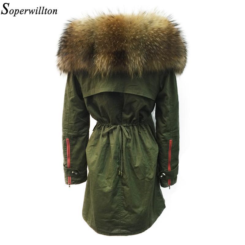 Soperwillton 2019 Giacca invernale donne reali Raccoon Fur Collar Parka con cappuccio Femme Giacche Cappotto di pelliccia staccabile signore Fodera # BA8 LY191129