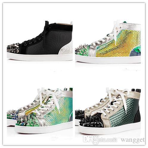 Frete Grátis Marca de Alta Top Sapatos de Fundo Vermelho No Limit RARE Studs Sapatilhas Dos Homens Sapatos Com Lantejoulas Graffiti Strass Sapatos de Lazer