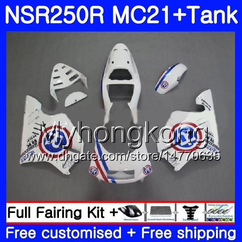 Einspritzung für HONDA NSR 250R 250 R NSR250R 1990 1991 1992 1993 264HM.40 NSR250 R RR MC21 PGM3 NSR250RR Blau R weiß 90 91 92 93 Verkleidungen