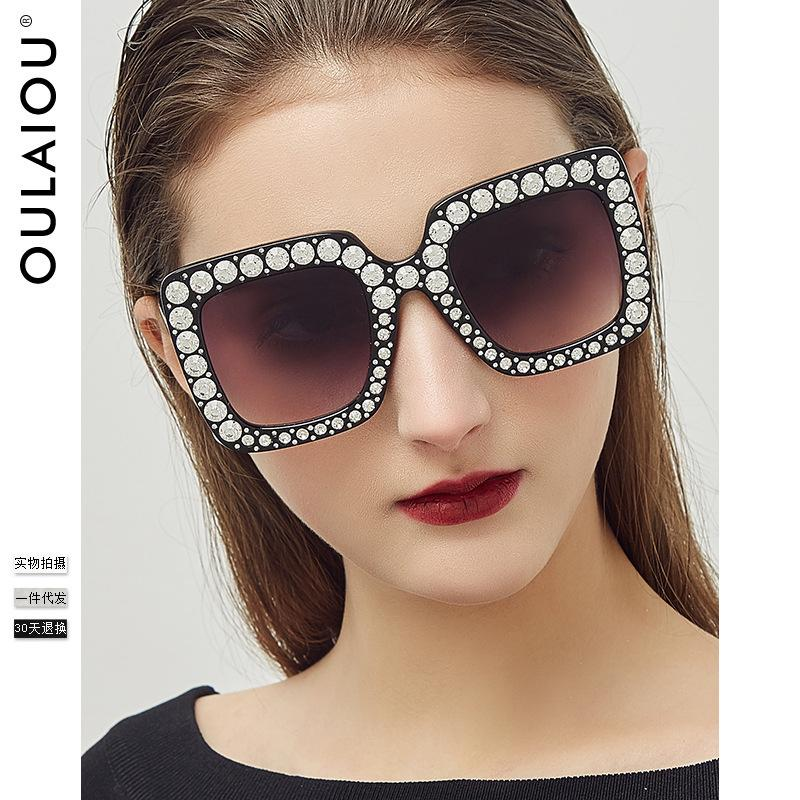 Oulaiou 1832 Fashion Sunglasses Nuevo patrón Diamond Will Frame Toad Gafas Ma'am Sombrilla táctico