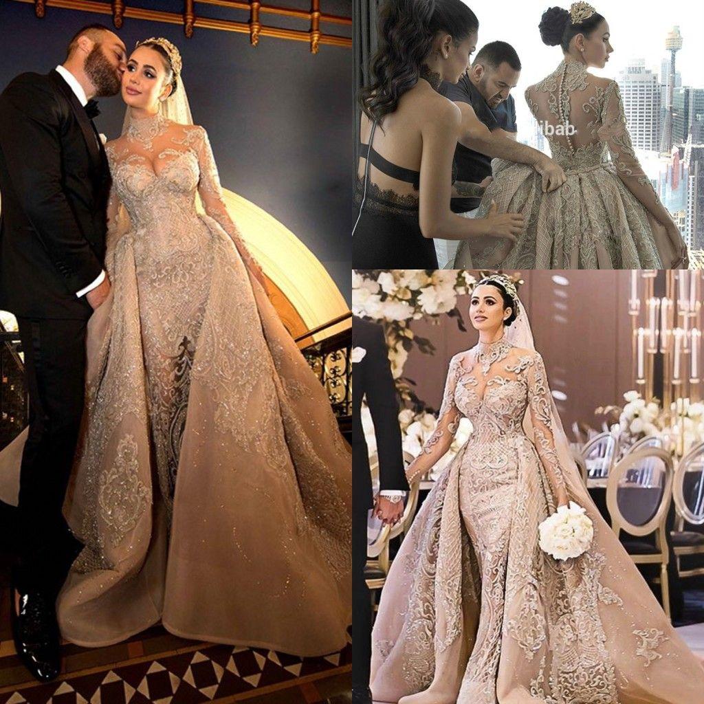 Шампанское арабский Русалка свадебные платья Дубай с длинным рукавом верхняя юбка Bling аппликации плюс размер невесты платье vestido де noiva Slub