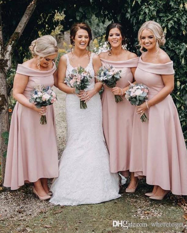 2020 Onur Elbise Wedding Guest Elbise resmi elbiseler Omuz Ucuz Basit Nedime Modelleri Hi-lo Düğün Maid Kapalı