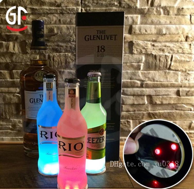 Universal Botella de Luz LED Etiqueta Redonda A Prueba de agua Prácticos de Costa de Flash Estera de Paster Alto Brillo Ultra Delgado Pegatinas de Regalo de Fiesta 2 5mj BV