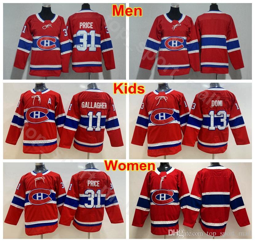 Homens Lady Kids Montreal Canadiens 13 Juventude Carey Preço Jerseys Homem Mulheres 13 Max Domi 11 Brendan Gallagher Gelo Hóquei Hóquei Jerseys Vermelho