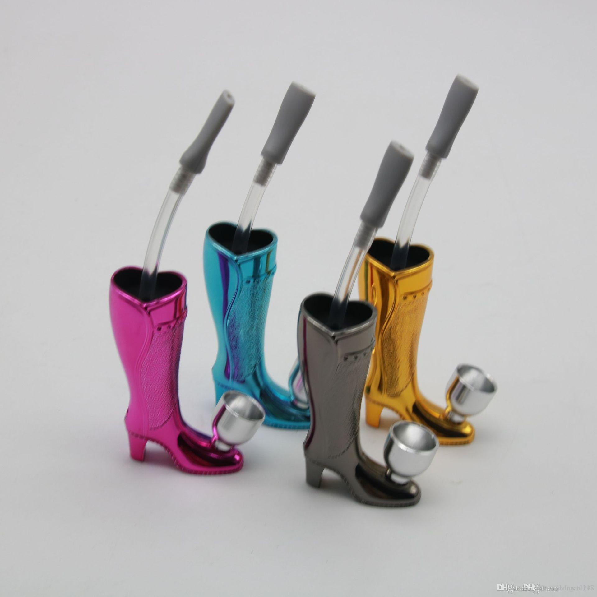 sigara boru bong renkli protable ucuz Yüksek topuklar pipo alüminyum plastik yaratıcı nargile su tütün