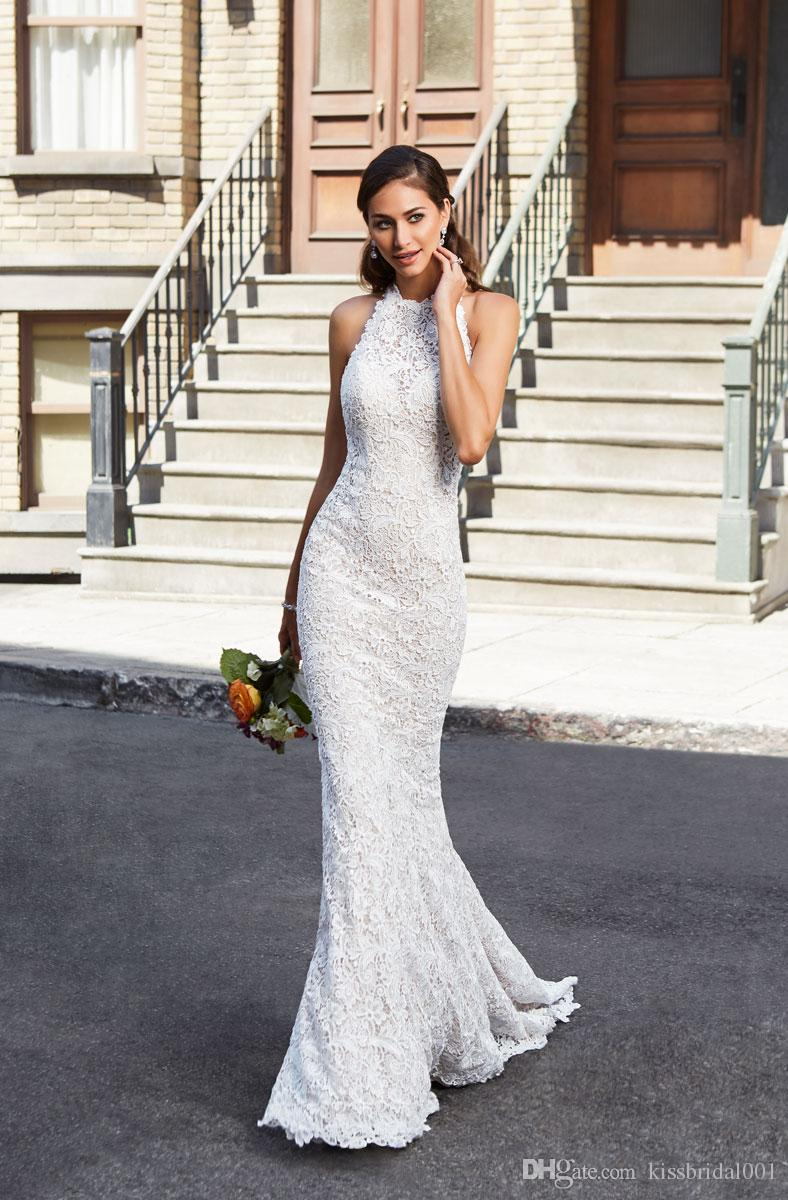 Abiti Da Sposa Mermaid Wedding Dresses Halter Neckline Lace Wedding Dress Bridal Gowns Zipper With Button Bride Formal Gown Mermaid Style Wedding