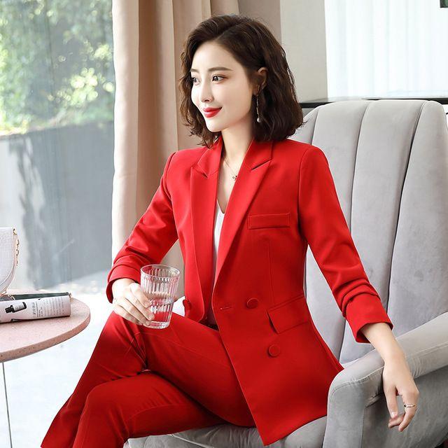 Signore ufficio Work Suit Rosa Rosso Nero Doppio Petto Blazer pantaloni Set Fashion Business Pant Abiti per le donne Pantsuit formale