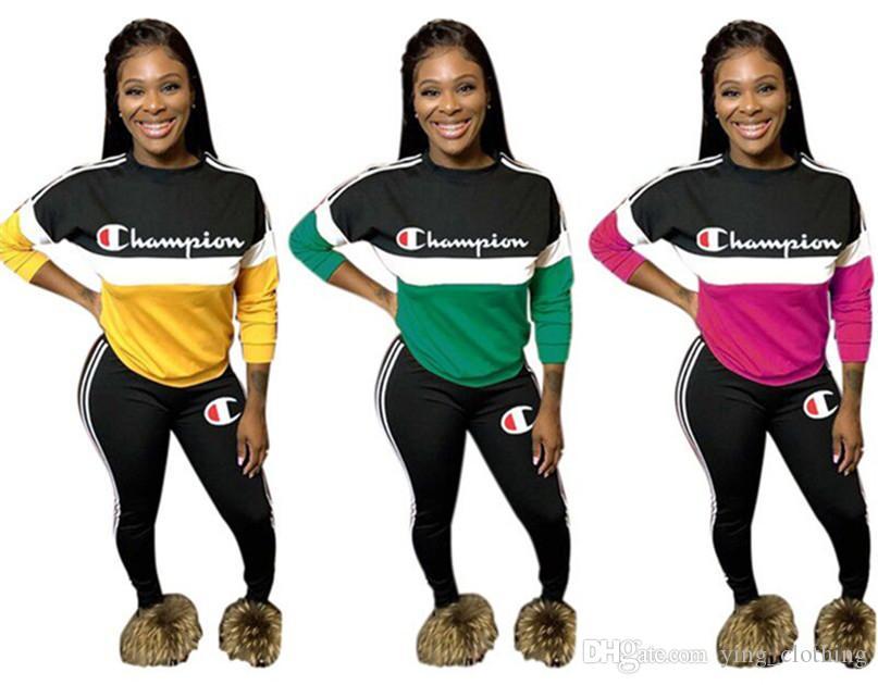 Champion Frauen Anzug 2-teiliges Set Hoodies + Hosen-Sport-Anzug Panelled Outfits Hemd + Leggings Herbst Winter Panelled Mode Kleidung 1635