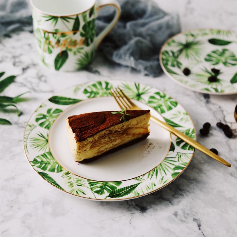 Beauté d'or Plantes de style européen Vert Céramique Motif Vaisselle en porcelaine de vaisselle en porcelaine Assiette Tasse Tasse et soucoupe