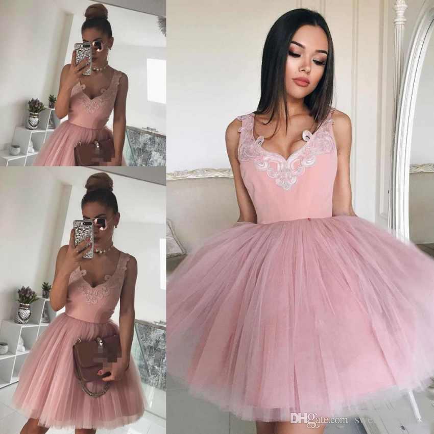 Сексуальный свет розовый V шеи короткие домохозяйственные дзюры с аппликацией юбки из тюля мини коричневый коктейль для вечеринки платья дешево