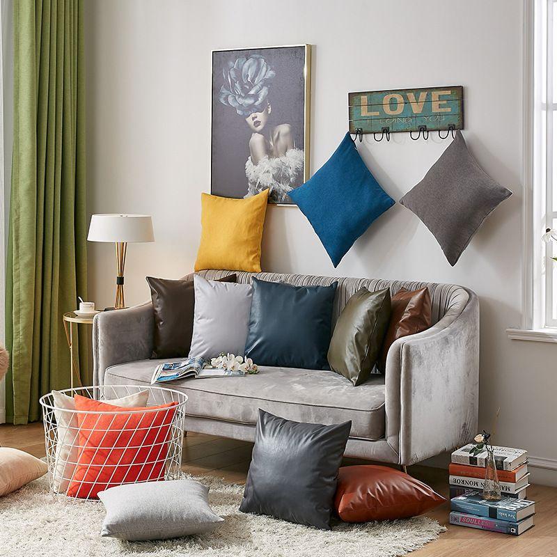 La imitación de cuero del sofá fundas de colchón color sólido funda de almohada Almohada caso de la alta calidad de la cremallera de almohada Breve decoración del hogar VT0891