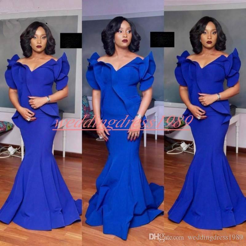 Abiti da sera a sirena con volant arricciati Royal Blue 2019 Party Dress Plus Size African Formal Pageant Prom Juniors Abiti Vestido de noche