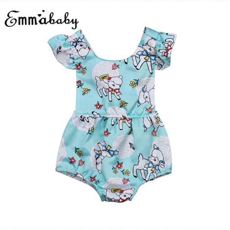 Adorable newborn Bambino sveglio delle neonate breve manicotto increspature del fumetto stampato tuta della tuta Backless fasciatura prendisole Outfits