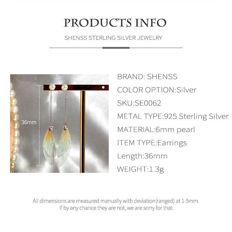 925 Sterling Silver Sweet Premium Womens Earrings Dragonfly Wing Shape Earrings