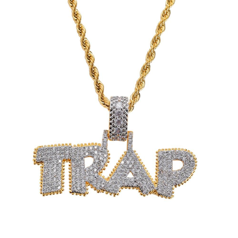 Men Hip Hop Ice Out Bling TRAP Letter Pendants Necklaces Pave Setting Zircon fashion PoPular Charm necklace Hiphop Jewelry gifts
