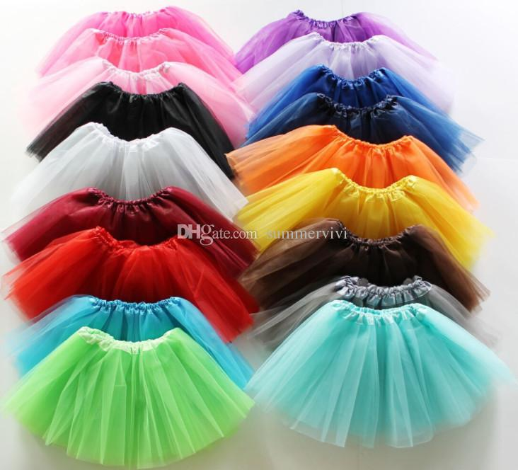 Girls lace tulle tutu skirt kids lace tulle dance skirt girls candy color lace princess skirt 19 color children birthday party skirts F9310