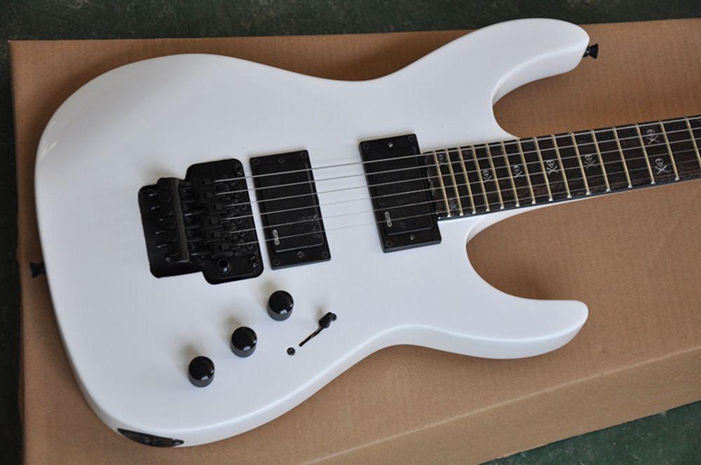 Оптовая Белый Floyd Rose гитара Electric с EMG Пикапы, Rosewood Traste Инлей tretboard с Скелет, черный кованого железа