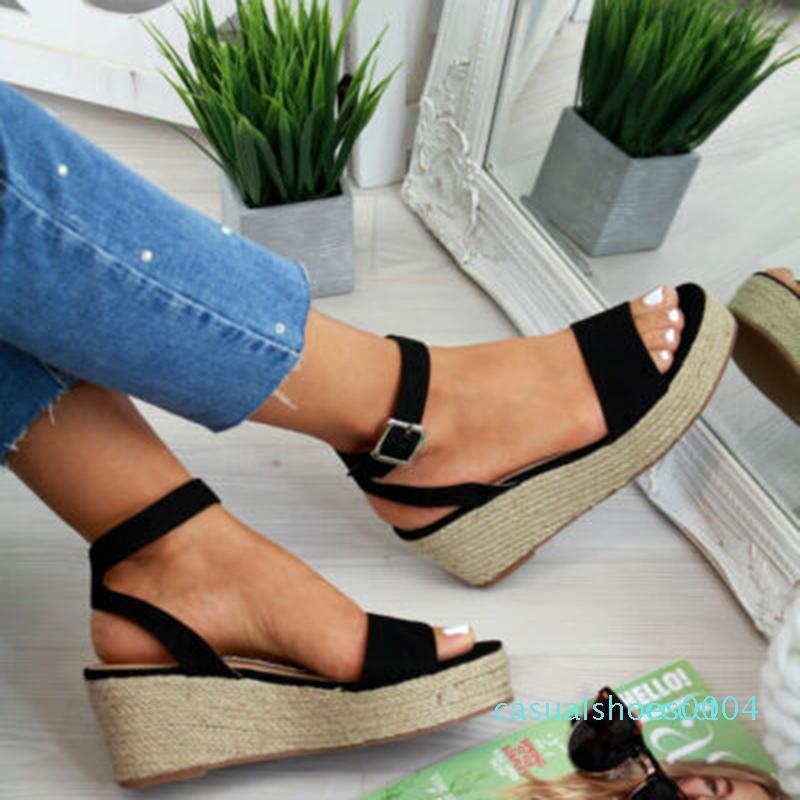 Laamei Summer Platform Sandals 2019 Fashion Women Flat Sandal Wedges Shoes Casual Woman Peep Toe Ladies Platform Sandals c04